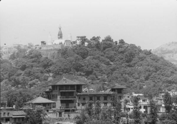Swayhambunath above Vajra Hotel, circa 1980.