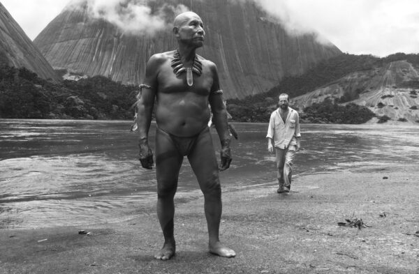An image from Embrace of the Serpent with Schultes in the background