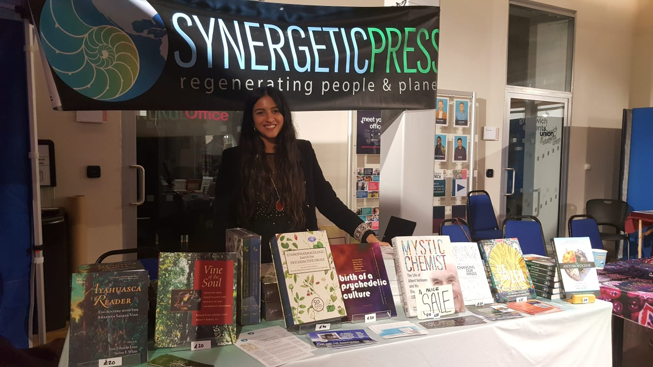 Synergetic Press editor, Jasmine Virdi, at Synergetic Press booth